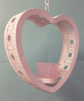 White Metal Heart Hanging Tea Light Candle Holder - Pink Glass